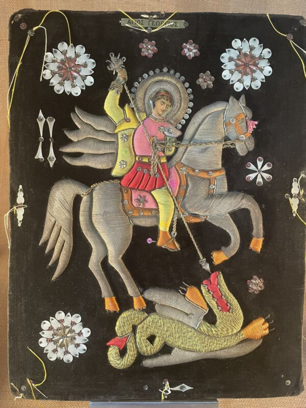 Antique Greek Orthodox Embroidered on Velvet St. George & The Dragon Icon