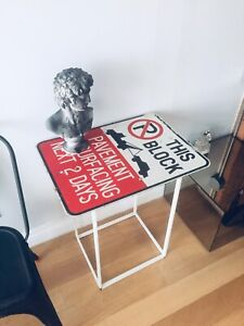 VINTAGE ROAD SIGN HALL WAY CONSOLE TABLE FOYER ENTRY MAN CAVE