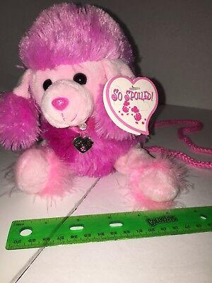 - Hot Pink Poodle Stuffed Animal Dog Purse/Bag Fuzzy Soft Plush Toy
