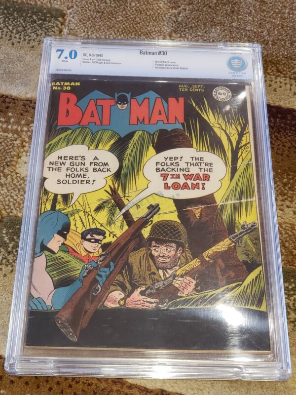 Batman #30 CBCS 7.0 WHITE PAGES! (NOT CGC) 1945 First Ally Babble, WWII Cover