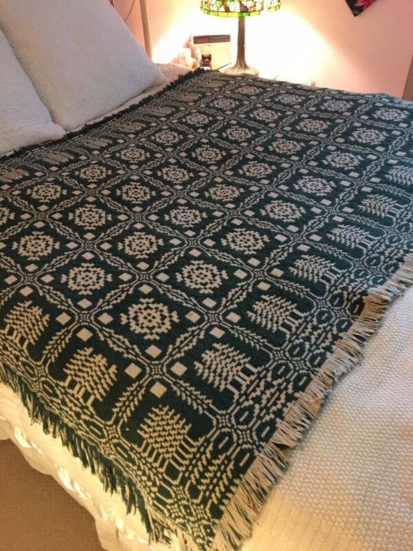 Antique Woven Coverlets Throws Green White Pair (2) Pine Trees Reversible