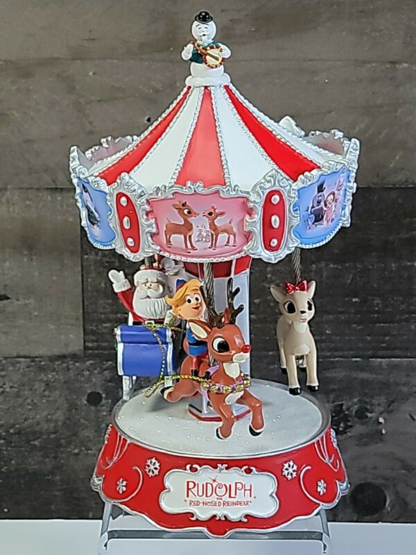 Bradford Exchange Rudolph The Red-Nosed Reindeer Music Box w/ Spinning Carousel