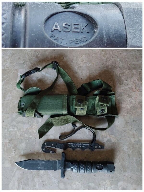 NOS Unissued USA ASEK ONTARIO PILOT SURVIVAL KNIFE, STRAPCUTTER &THIGH SCABBARD