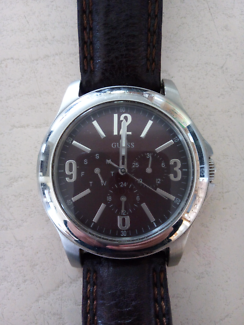Guess Watch men's brown leather