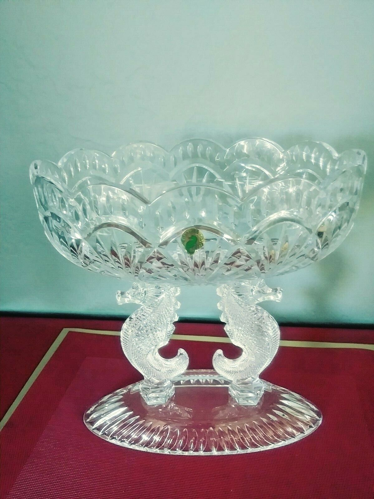 Waterford Crystal Double Seahorse Pedestal Oval Bowl NEW IN BOX - $975.00