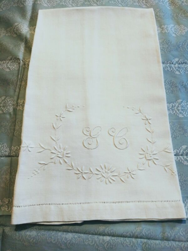 """Gorgeous Heavy Linen Show Towel 34.5"""" by 21"""" with Embroidered Initial """"GC"""""""