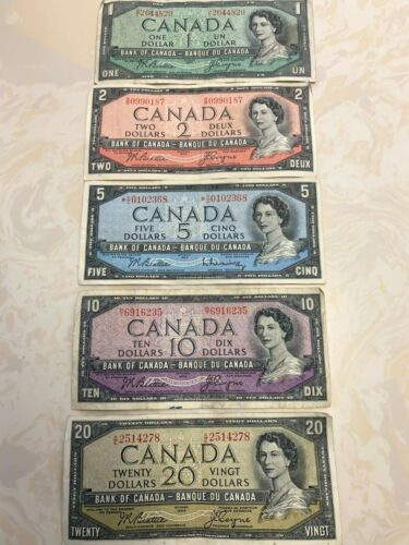 1954 Canada Banknotes $1,2,5,10,20 - Total 5 Bills - Good Condition