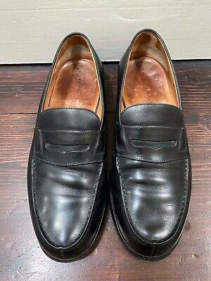 J.M. Weston 180 Moccasin Loafers in Smooth Black Boxcalf Leather, Sz 7E (FR)