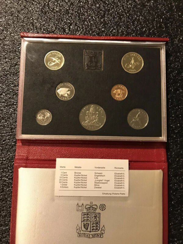 1986 Bermuda 7 Coin Proof Set Royal Mint Only 4,000 Issued Worldwide RARE!
