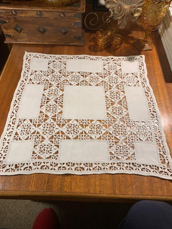 Antique 1910 Handmade Pure Linen Tea Cloth/Centerpiece~Insets~Drawn Work~Crochet