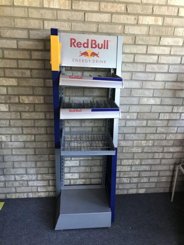 "Used Red Bull Energy Drink 59.5"" Promotional Metal Display Shelf W/ Dividers"