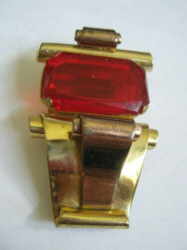 """1919 CORO Art Deco Rose & Yellow Gold Tone 2.25"""" FUR CLIP w/ Large Red Glass Gem"""