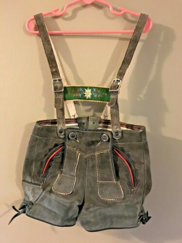 "VTG Lederhosen Girl Loden Green Suede Leather 22"" Waist Floral Embroidered Bib"