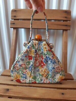 Vintage 1930s Lace Handbag Wristlet evening  clutch floral orginal