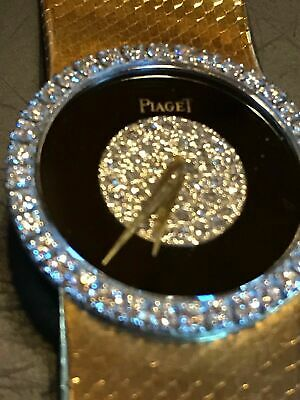 Piaget Womens 18k Yellow Gold Watch With Diamond Set Bezel Diamond Pave Onyx