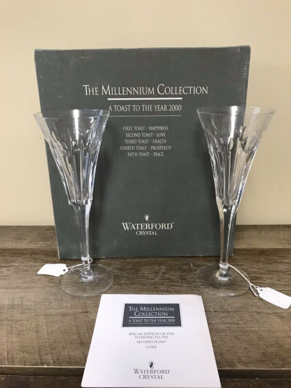Waterford Crystal MILLENNIUM Champagne LOVE Second Toasting Flutes Pair Set/2