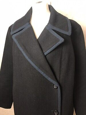 Womans Kate Spade Saturday Navy Wool Blend Long Buttoned Wrap Coat Size M