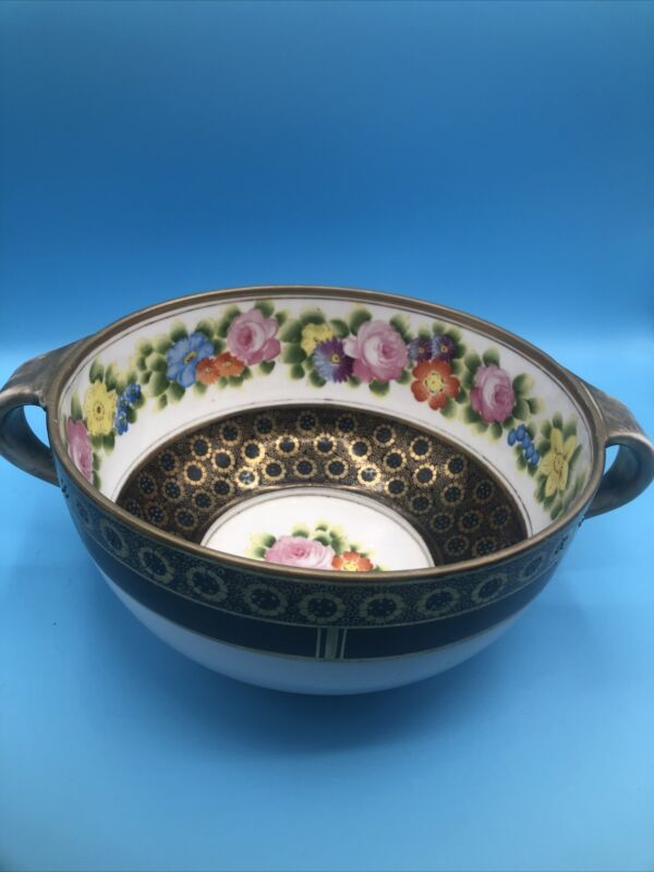Nippon Flower Design Bowl With Handles
