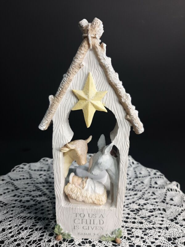 Nativity Candle Holder 8 Inch Tall Baby Jesus Donkey And Cow Christmas