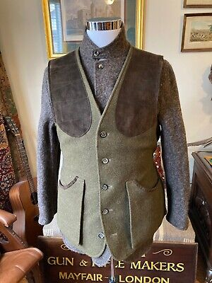 Holland & Holland Men's Green Wool and Alpaca Shooting Vest, Size M