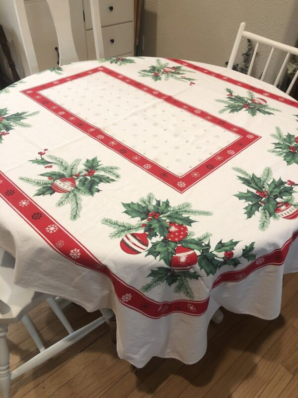 Vintage Christmas Holly & Ornaments Tablecloth 56x72 Rectangle White Cotton