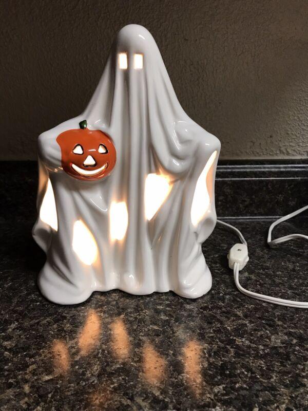 "Vintage 1980's Ceramic Ghost With Pumpkin Light Up Decoration 8"""