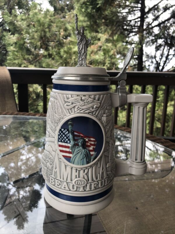 """1998 Avon, """"America The Beautiful"""" Numbered 51492 Collector's Stein"""