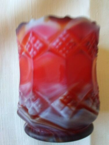 Vintage Imperial Glass Red Slag Toothpick  Holder Diamonds/Panels