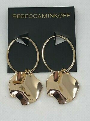 REBECCA MINKOFF GOLDTONE HOOP W ABSTRACT DANGLE -