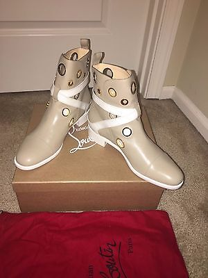Christian Louboutin Scubabootie Flat Beige White Leather Boots Shoes EU 40 US 9