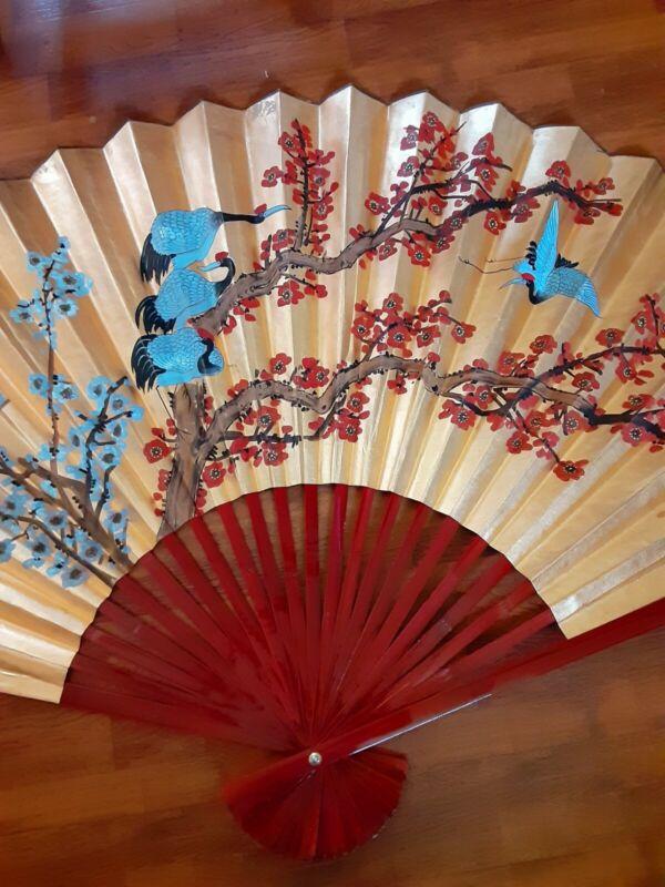 "Vintage Large Asian Handmade Painted Peacocks Cherry Tree Fan 30""×60"""