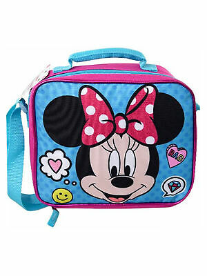 Girls Minnie Mouse Face Insulated Lunch Bag Pink with Should
