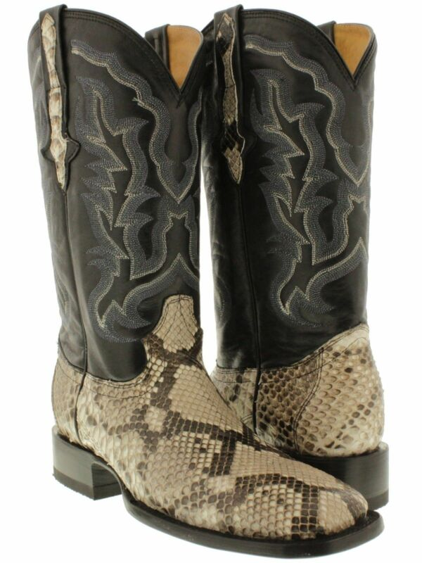 mens, all, real, python, belly, snake, skin, leather, cowboy, boots, western, riding, square