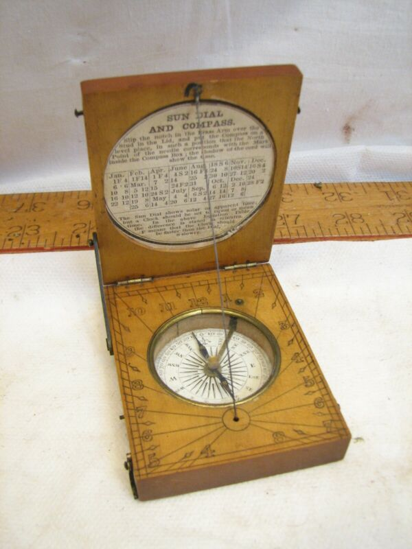 Antique Carved Boxwood Folding Pocket Sundial & Compass Tool Sun Dial Maritme