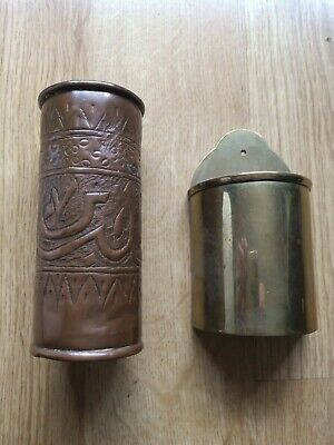 VINTAGE COPPER HANDMADE VASE AND BRASS WALL MOUNTED TAPER HOLDER