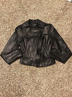 Bebe Leather XS Jacket Black Cropped Zip Front Studded Collar. Worn Once.