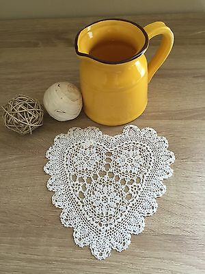 "6"" Inch Heart Shaped Cotton Crochet Lace Doily Handmade White 12 PCS Wedding DIY"