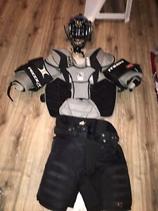 Goalie equipment for sale.