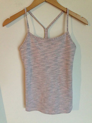 Lululemon Power Y Tank Top Heathered Gray Light Pink Cream Size 4 Space Dye