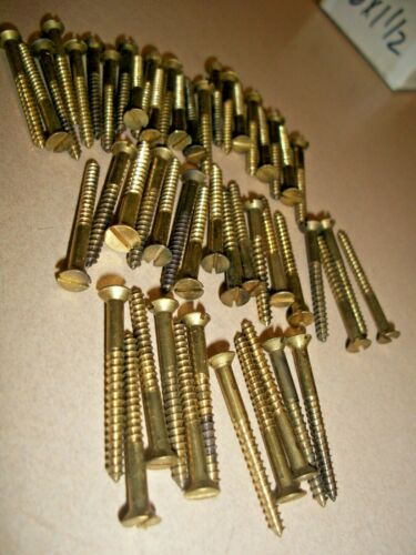 """50 - VINTAGE BRASS WOOD SCREWS WITH THE FLAT REG. SLOTTED HEAD, 1 1/2"""" x  #6"""