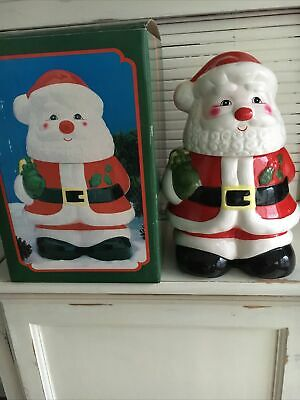 Vintage In Box Christmas Cookie Jar Santa Claus Ceramic 2pc Excellent