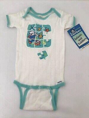 Vintage Gerber Onesies USA Baby Bodysuit Shirt Infant Toddler White Large 1991 Vintage Baby Onesies