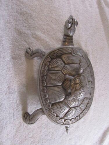 VTG CAST ALUMINUM  TURTLE PLATTER WITH TURTLE SHELL LID - LARGE