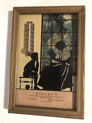 Vintage Antique Advertising Lady Reading A Book To A Kid Shadow Silhoutte