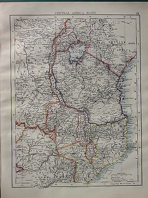 1900 VICTORIAN MAP ~ CENTRAL AFRICA EAST CONGO FREE STATE ZANZIBAR NYANZA