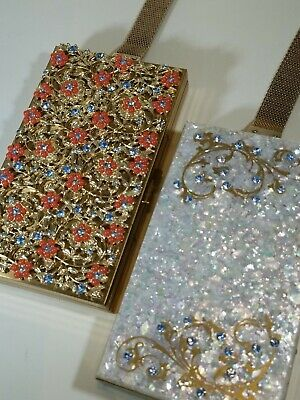 Vtg 2 Compact Purse Wristlet Makeup/Cigarette Case Rhinestones & Beaded MOPearl
