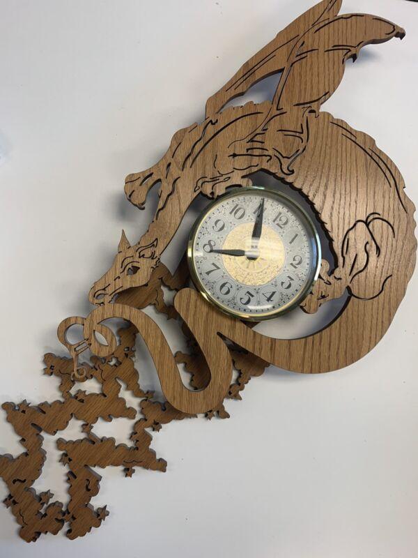 Vintage Large Wood Carved Mystical Dragon Quartz Takene Clock Antique