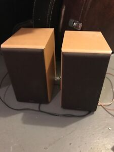 Denon CD Receiver and Two Oak Wood Speakers