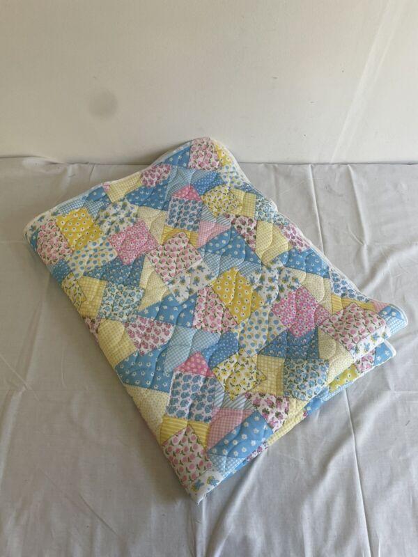 vintage baby quilt blanket patchwork multicolor