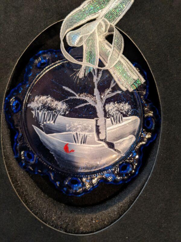 Fenton Ornament - Snow scene w/cardinal # 1724 9M Cobalt - New in Box - Signed